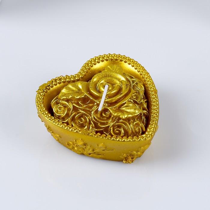 """Свеча """"Сердце с розой"""" 9х4,5см, золотая"""