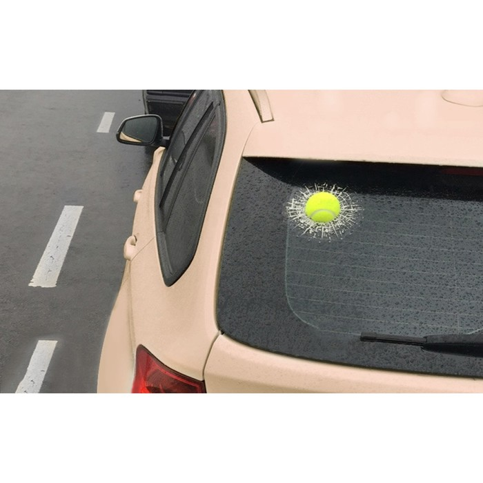 """Наклейка на автомобиль """"Разбитое стекло"""", теннисный мяч"""