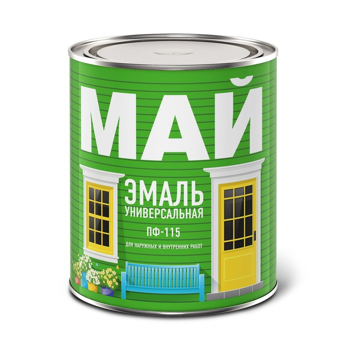 Эмаль МАЙ ПФ-115 серая, банка 0,8 кг