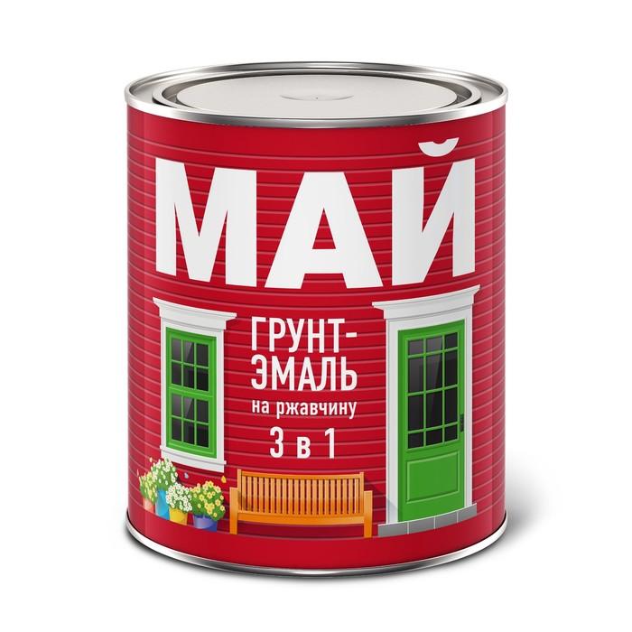 Грунт-эмаль МАЙ на ржавчину 3 в 1 черная, банка 0,8 кг