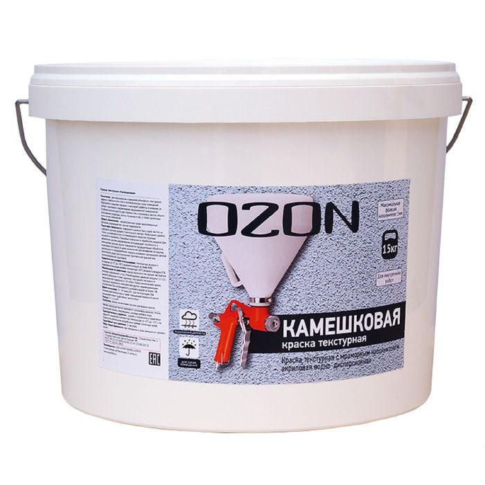 """Краска текстурная OZON """"Камешковая"""" ВД-АК 262М акриловая 6 кг"""