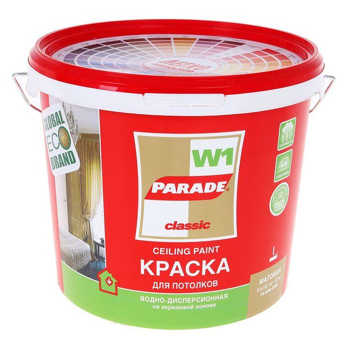 Краска PARADE акриловая W1 для потолков белая матовая  5.0л