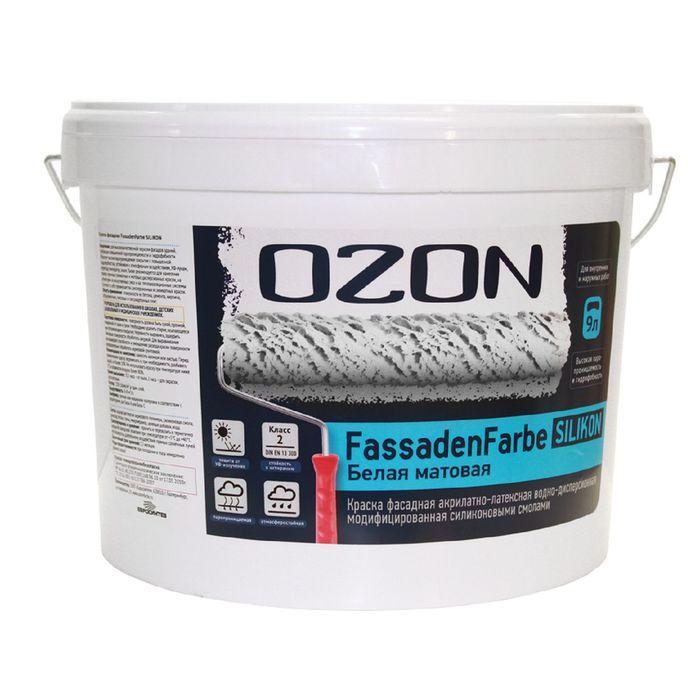 Краска фасадная OZON FassadenFarbe SILIKON ВД-АК 115АМ акриловая, база А 0,9 л (1,4 кг)