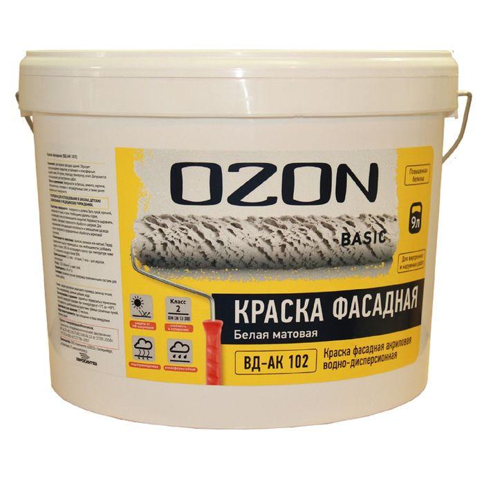 Краска фасадная OZON-Basic ВД-АК 111М акриловая 9 л (13 кг)