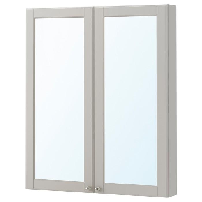 Зеркальный шкаф с 2 дверцами ГОДМОРГОН, 80x14x96 см, кашён светло-серый