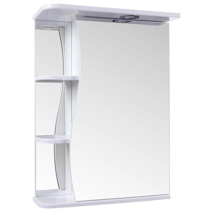 "Зеркало-шкаф ""Тура"", с тремя полками, 50 х 23,4 х 70 см, со светильником"