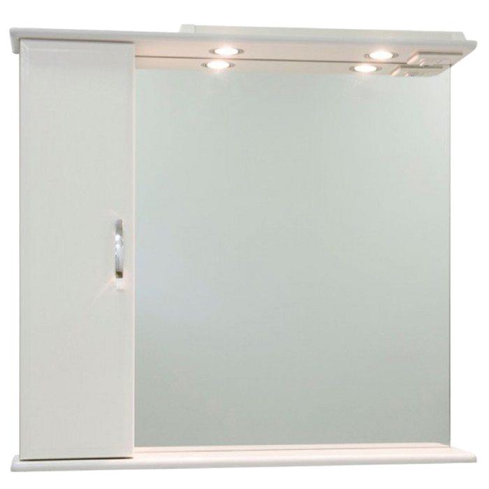 Шкаф-зеркало Колумбия 85 см Белое, левое