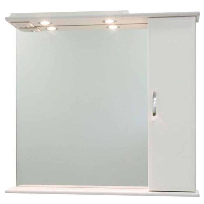 Шкаф-зеркало Колумбия 85 см Белое, правое