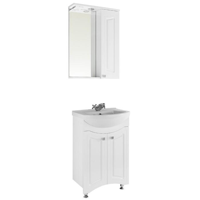 Зеркало-шкаф Адам 55 см Белое, правое