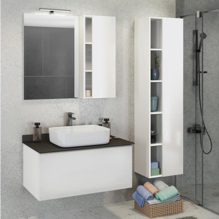 Зеркало-шкаф COMFORTY «Милан-90» белый