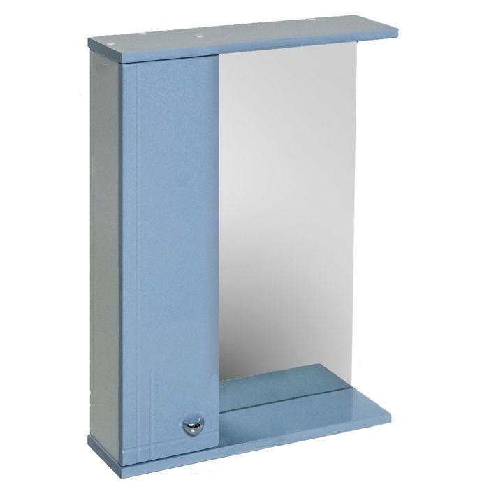 """Шкаф Зеркало """"АКВАРЕЛЬ"""" Классик Модерн 55, левый, голубой металлик"""