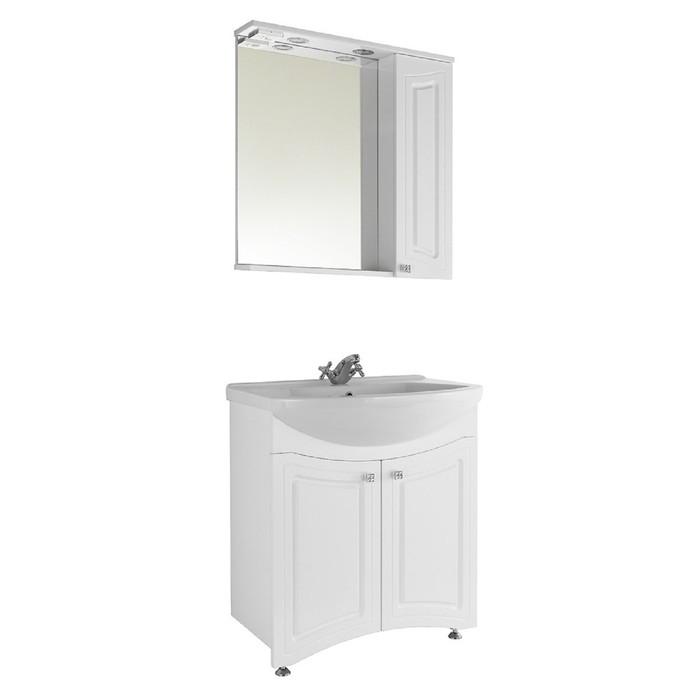 Зеркало-шкаф Адам 65 см Белое, правое