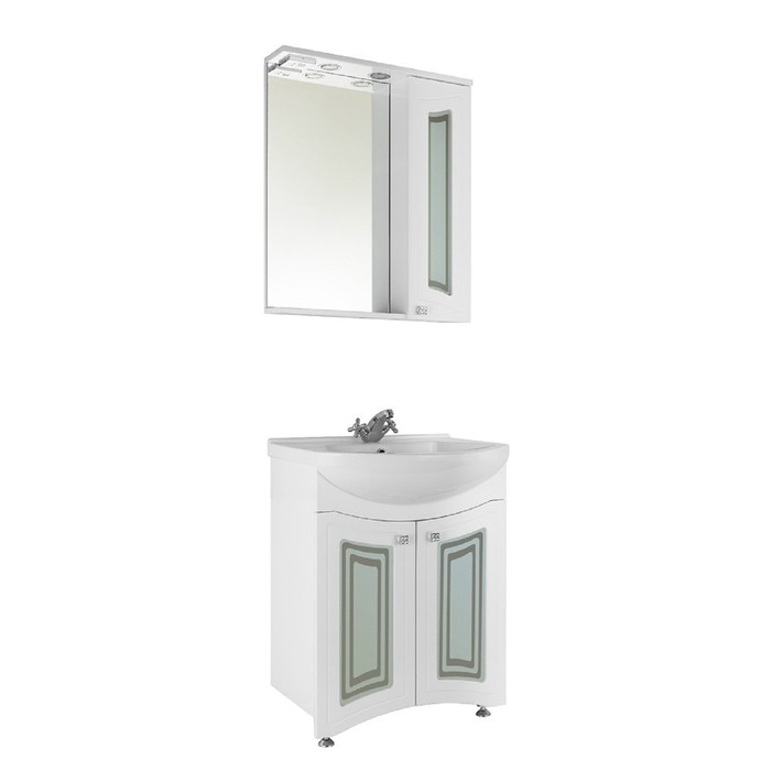 Зеркало-шкаф Адам 65 см Белое, правое - Стекло