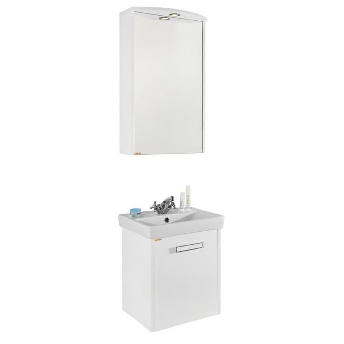 Зеркало-Шкаф Мона 50 см Белое, левое