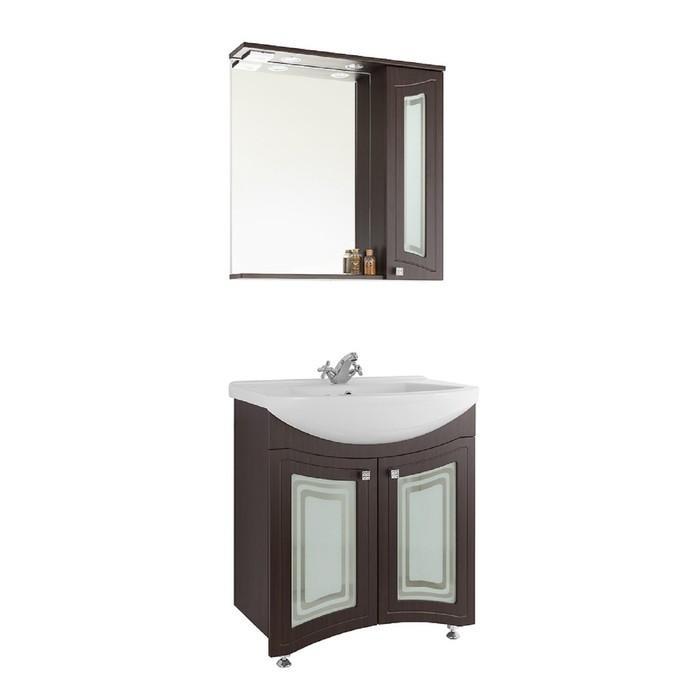 Зеркало-шкаф Адам 75 см Венге, правое - Стекло