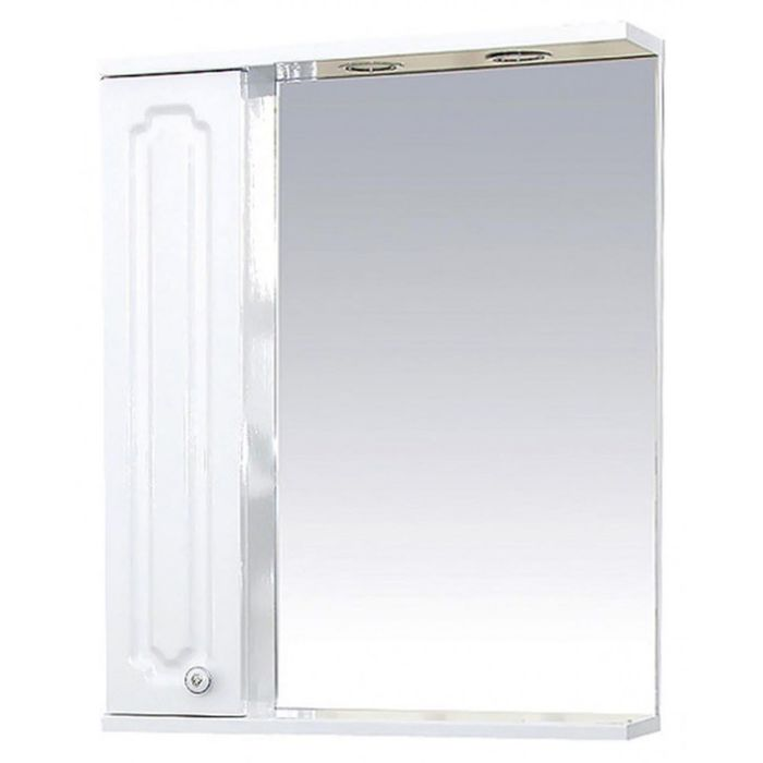 "Шкаф-зеркало Misty ""Александра 65"", левый, с подсветкой, белый металлик"