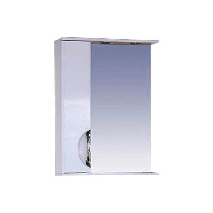 """Шкаф-зеркало Misty """"Жасмин 55"""", левый, с подсветкой, белая эмаль"""