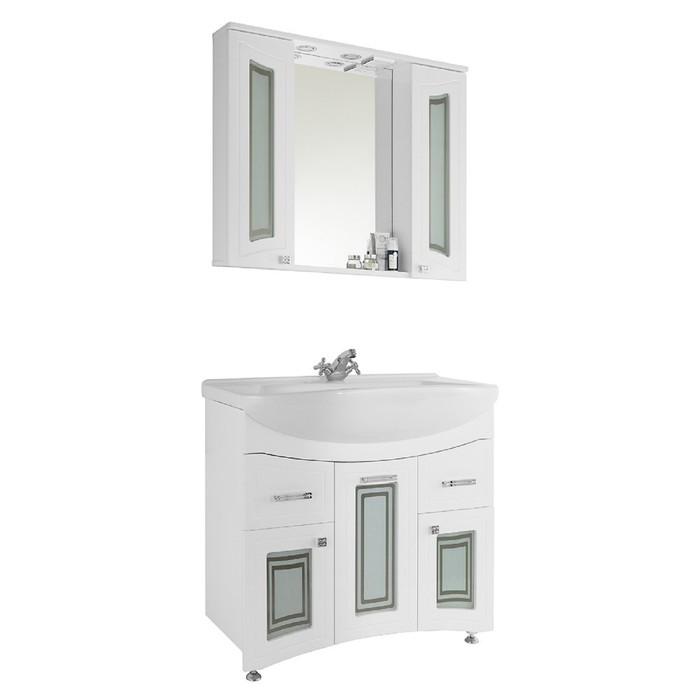 Зеркало-шкаф Адам 90 см Белое - Стекло