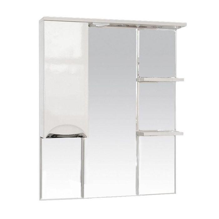 """Шкаф-зеркало Misty """"Жасмин 85"""", левый, с подсветкой, белая эмаль"""