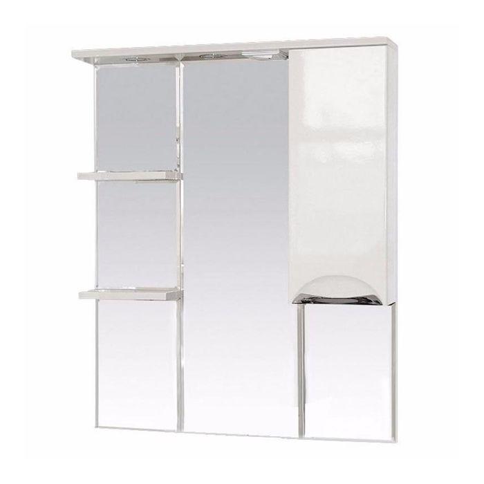 """Шкаф-зеркало Misty """"Жасмин 85"""", правый, с подсветкой, белая эмаль"""