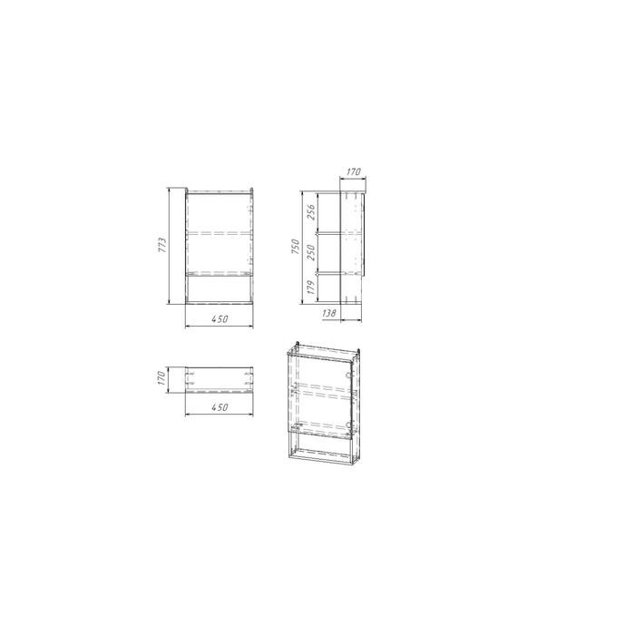 Зеркало-шкаф Вега 4502 белое, 45 х 13,6 х 70 см