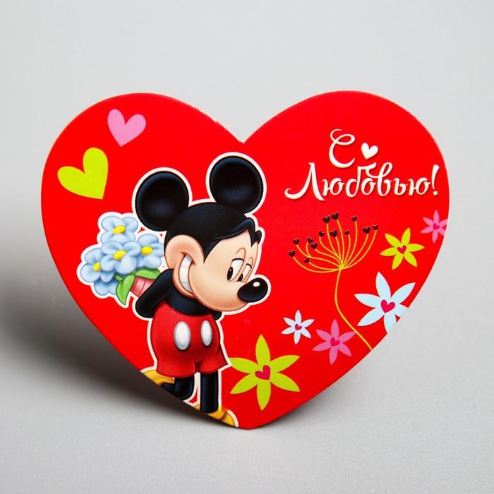 "Открытка-валентинка""С любовью"" Микки Маус, 7х6см"