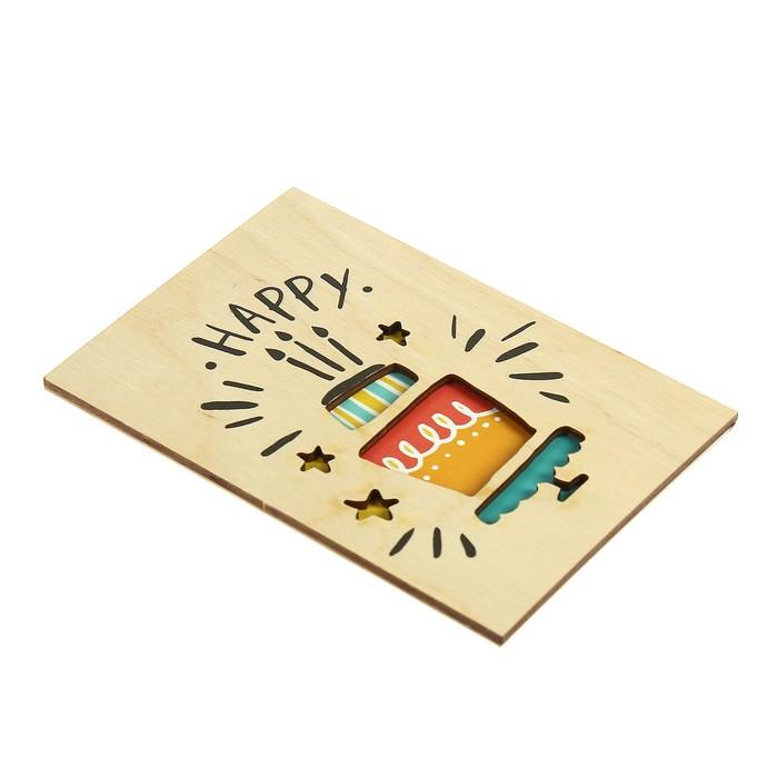 """Открытка деревянная """"Happy"""" торт"""