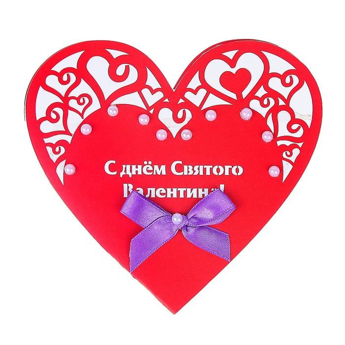 """Открытка-валентинка """"С Днём Святого Валентина!"""" ручная работа, сердечко, красный фон"""