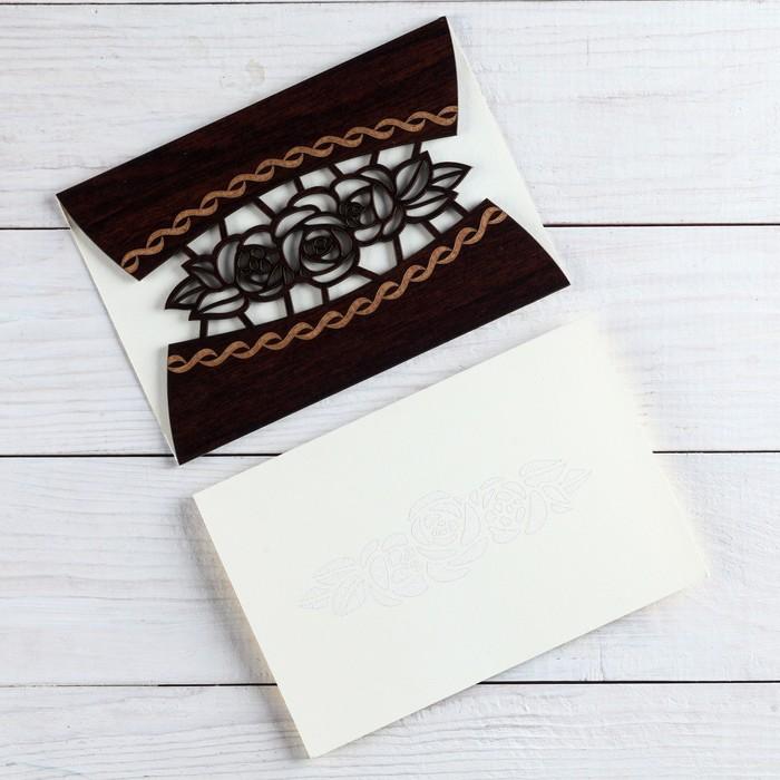 """Деревянная открытка-приглашение """"Универсальная"""" цветы"""