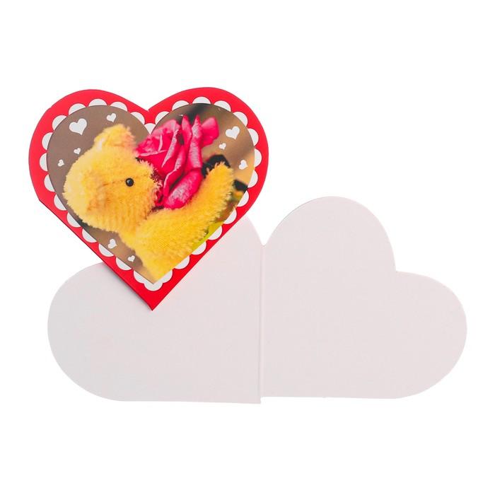 """Открытка-валентинка """"Плюшевый мишка"""" с розой"""