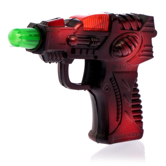 Пистолет «Бластер», свет и звук, работает от батареек, цвета МИКС