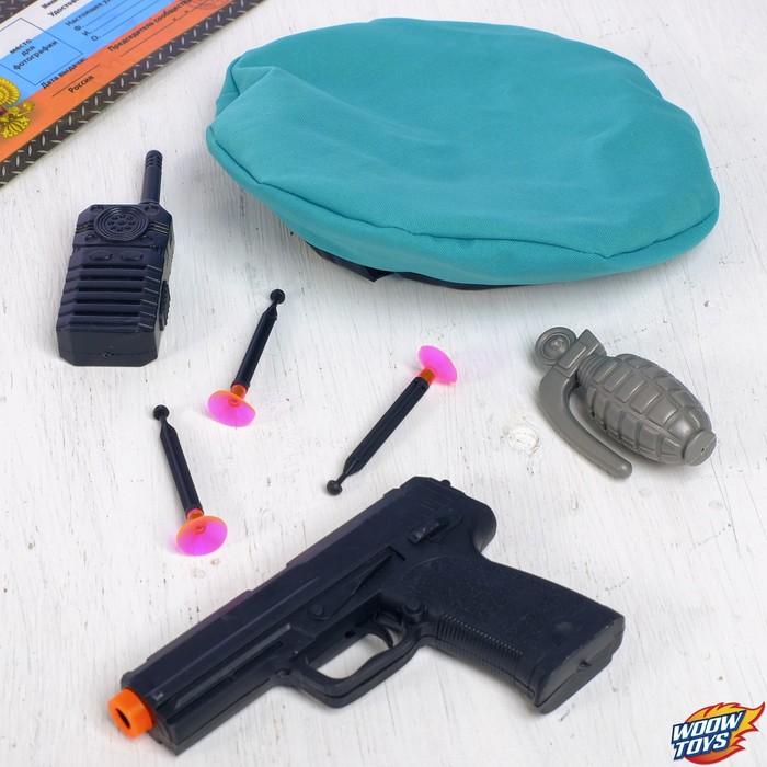 Игровой набор оружия, с головным убором «Отважный десантник» (пистолет, граната, рация, берет, присоски 3 шт.)