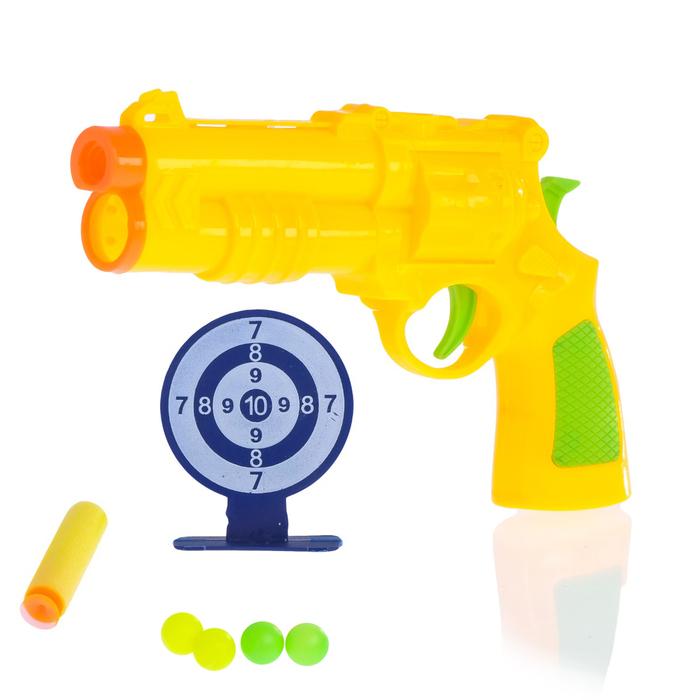 Пистолет «Патрульный», с мишенью, стреляет шариками и мягкими пулями, МИКС