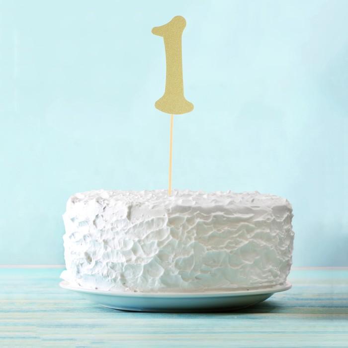 "Топпер в торт ""1"" цвет золото, набор 6 штук"