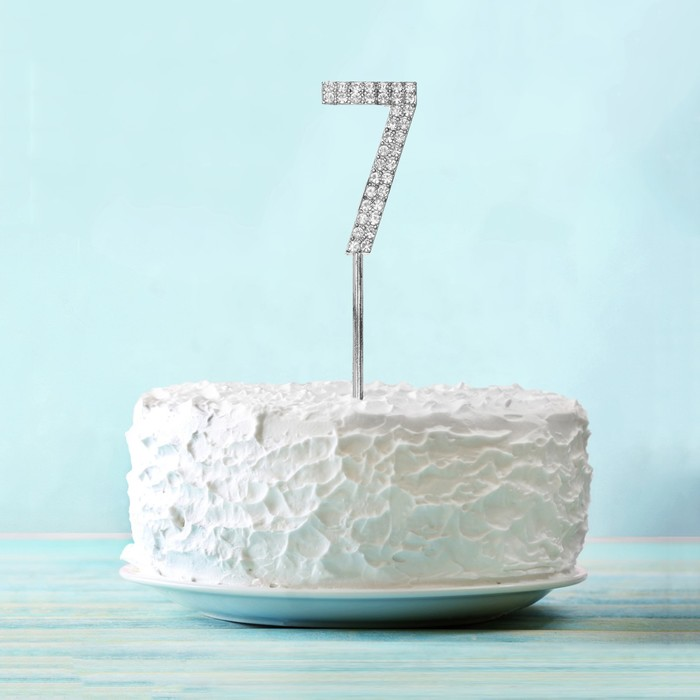 """Топпер для торта """"7"""" со стразами, цвет серебро"""