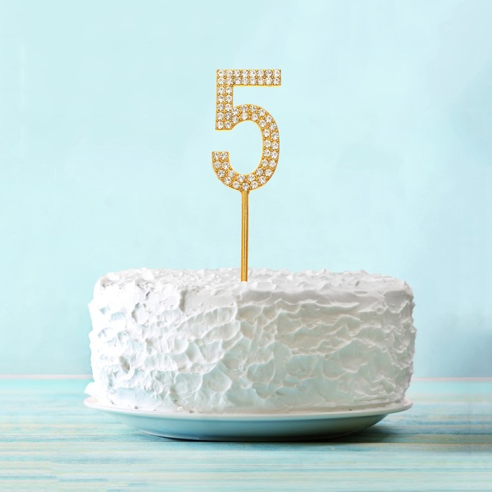 """Топпер для торта """"5"""" со стразами, цвет золото"""