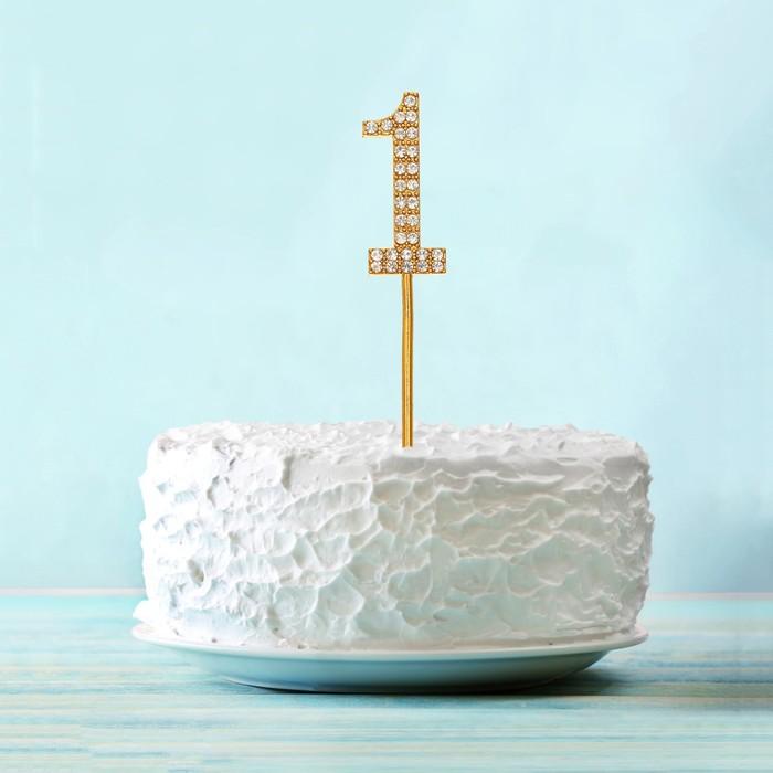 """Топпер для торта """"1"""" со стразами, цвет золото"""