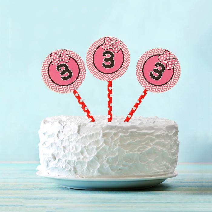 """Украшение для торта """"3"""" цвета МИКС (набор 6 шт)"""