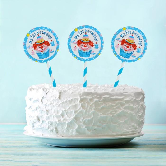 """Топпер """"Мой 1-ый день рождения"""" клоун, голубой цвет (6 шт на держателе)"""