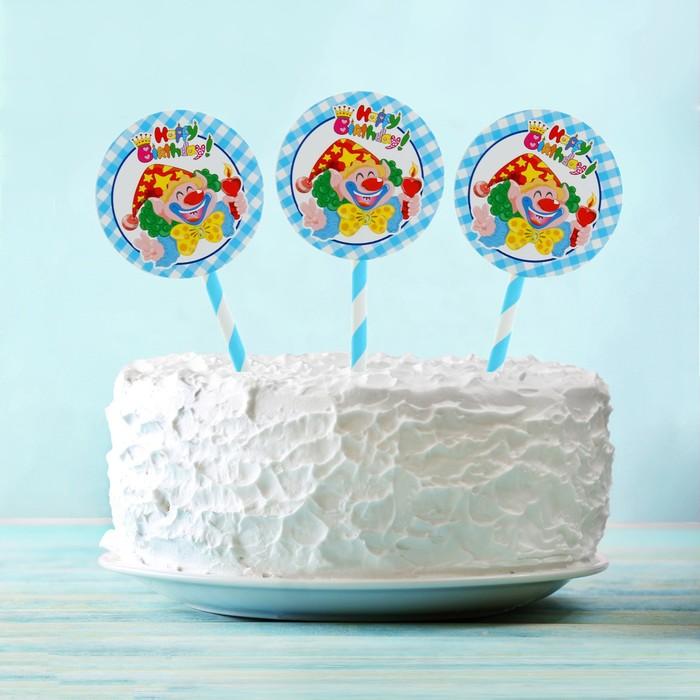 """Топпер """"С Днем рождения"""" клоун со свечкой, голубой цвет (6 шт на держателе)"""