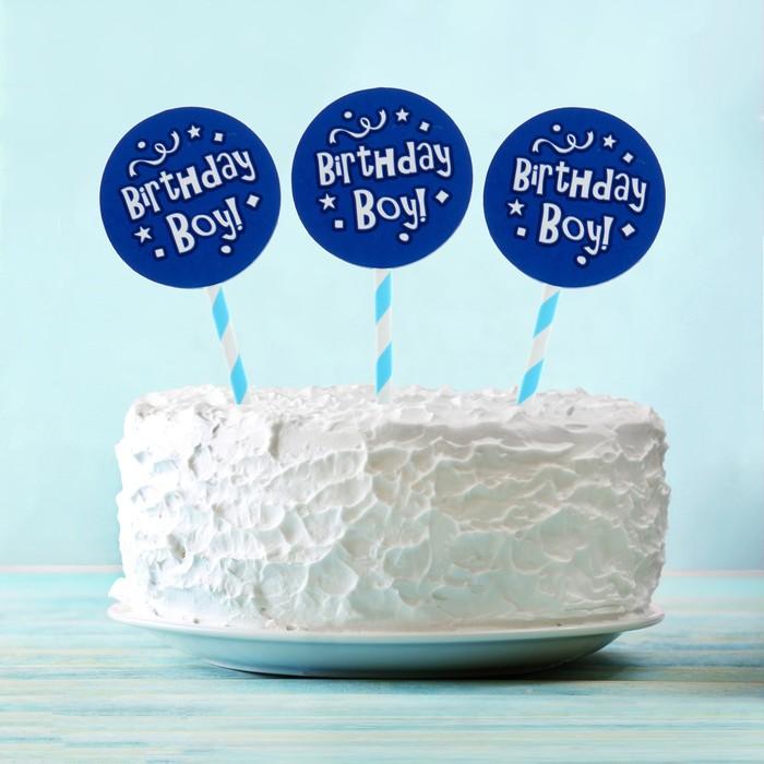 """Топпер """"С Днем рождения"""" для мальчика, голубой цвет (6 шт на держателе)"""
