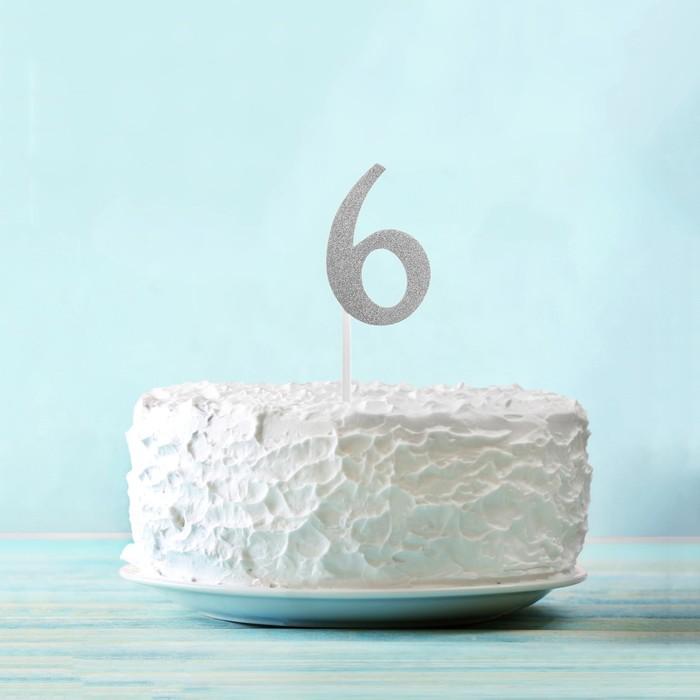 """Топпер """"6"""" цвет серебро, набор 6 шт."""