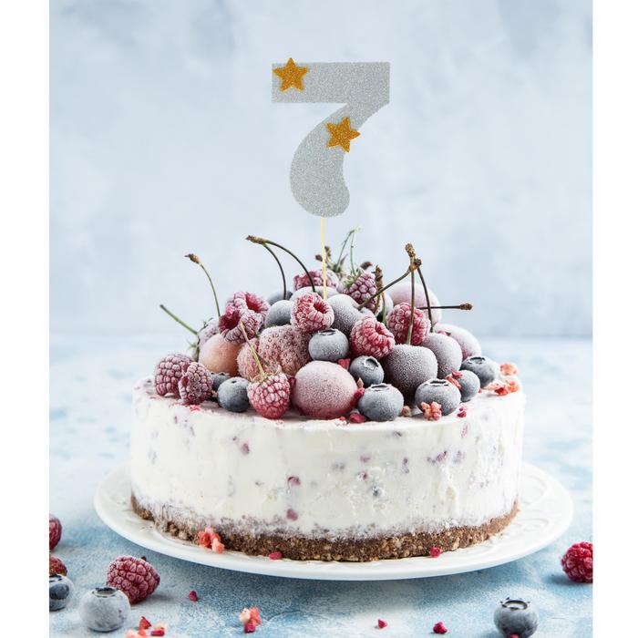 """Топпер для торта """"7"""", цвет серебро"""
