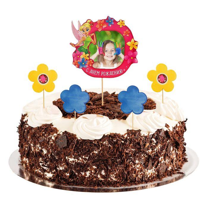 """Топперы в торт """"С Днем Рождения""""Фея с фоторамкой"""