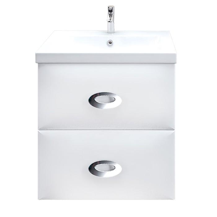 Тумба-комплект Ovale 60П, 2 выдвижных ящика, цвет белый, с раковиной Como 60