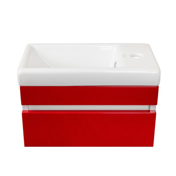 Тумба подвесная Compact, с раковиной Como 40, люкс, цвет красный