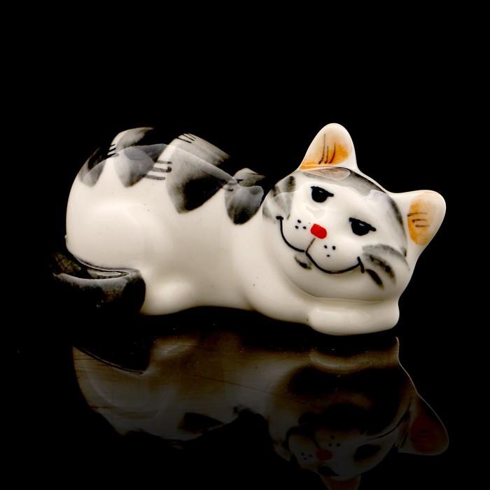 Статуэтка фарфоровая «Котя Муся», серая, 9см