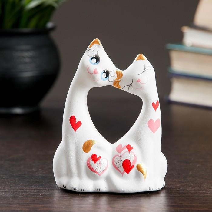 """Фигура """"Коты влюбленные"""" малые белые 5 × 9 × 11 см 074"""
