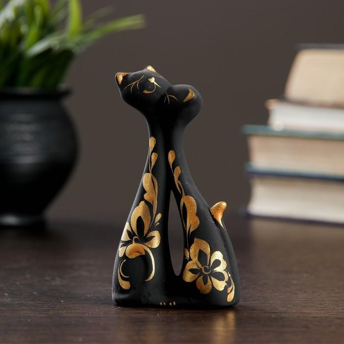 """Фигура """"Коты влюбленные"""" мини черные 3 × 6 × 11 см 128"""