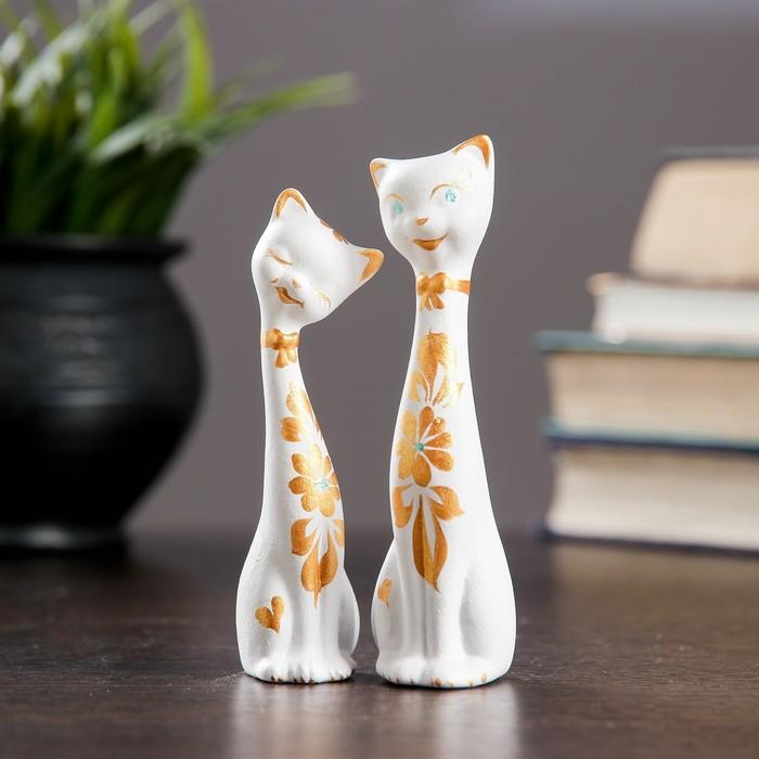 """Фигура """"Love Коты"""" мини набор 2шт белые 3,5 × 3,5 × 11,5 см 080"""